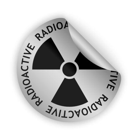 radioactive sign: vector de plata etiqueta doblada con la muestra radiactiva negro