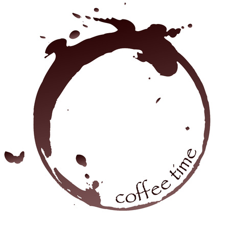 coffee beans white background: vector coffee stain with coffee time sign Illustration