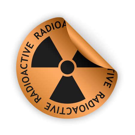 radioactive sign: vector bronze bent sticker with black radioactive sign