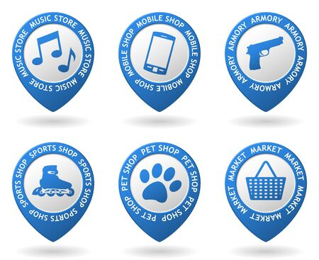 pet store advertising: vector blue map pointers with shops icon