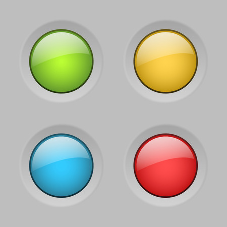 glass buttons: set of vector color rounded glass buttons Illustration