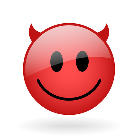 vector red glass emoticon with devil face Illustration