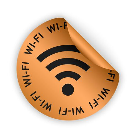 wifi sign: vector bronze bent sticker with gray wifi sign
