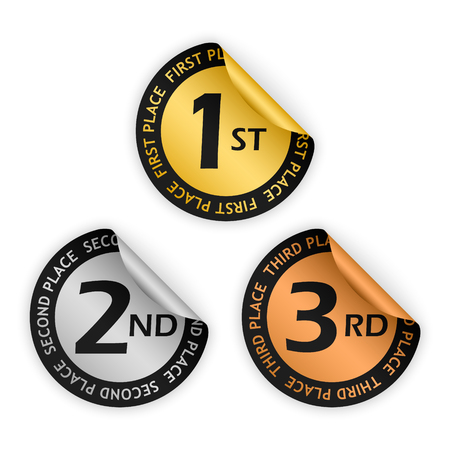 the place is important: set of vector gold, silver, bronze bent sticker with placement sign Illustration