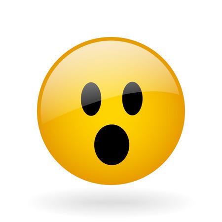 ojos tristes: Botón de cristal del vector con el símbolo de la cara sorprendida
