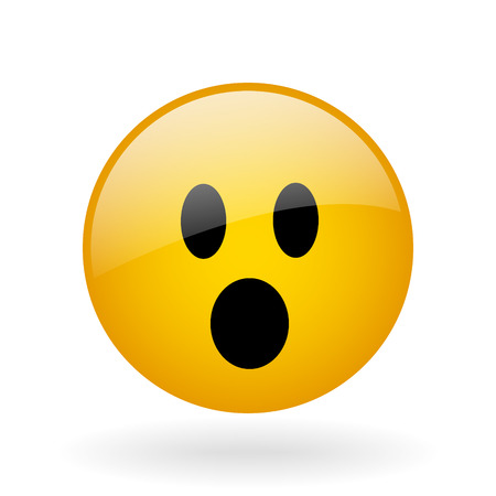 surprise face: vector glass button with symbol of shocked face