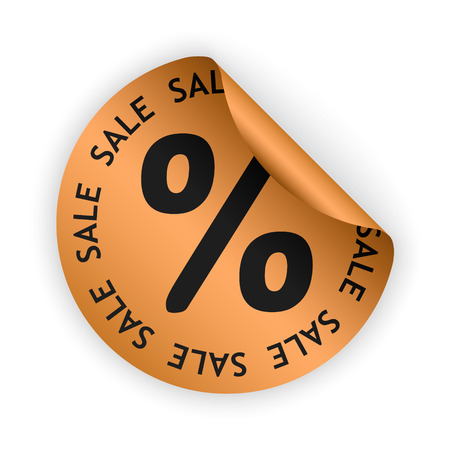 bent: vector bronze bent sticker with sale sign