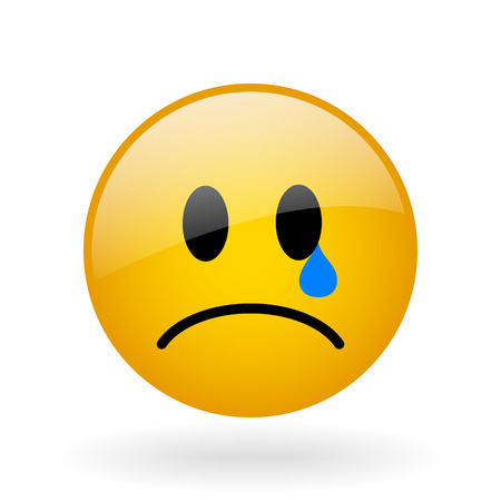 resentful: vector glass button with symbol of crying face Illustration