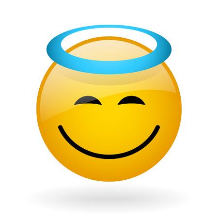 vector glass button with symbol of peaceful face Ilustração