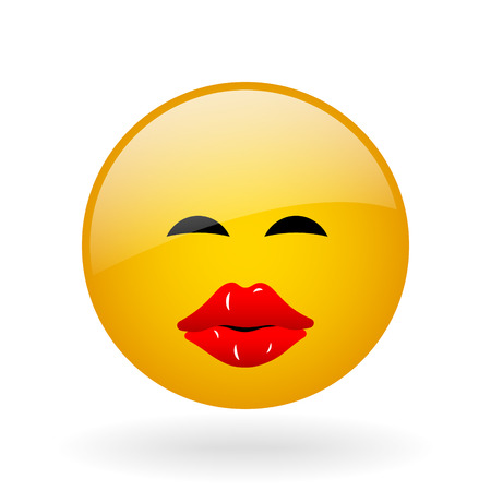 kissing lips: vector glass button with symbol of kissing face