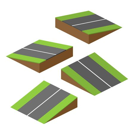 mountain road: set of vector bricks with parts of road on hill Illustration