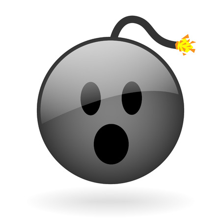 irate: vector glass button with symbol of bomb face