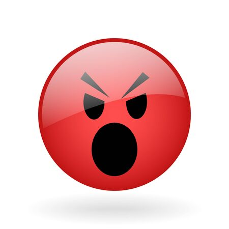 irate: vector glass button with symbol of angry face