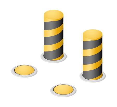 set of yellow warning retractable bollards