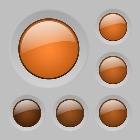 glass buttons: set of orange rounded glass buttons Illustration