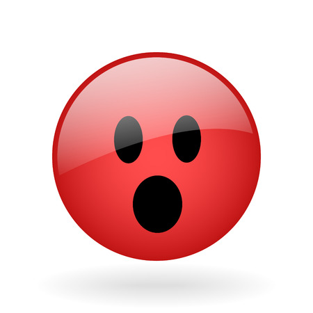 irate: glass button with symbol of shocked face