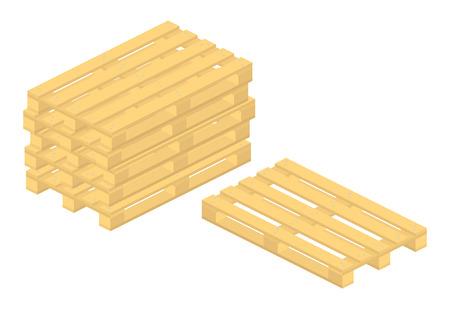 pallet: set of wooden pallet on white background