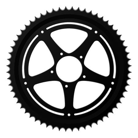 bike parts: vector black gear of a mountain bike