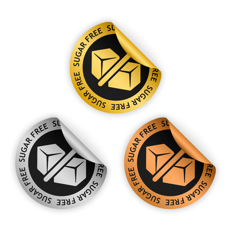 harmless: vector gold, silver, bronze bent stickers with symbol of sugar free