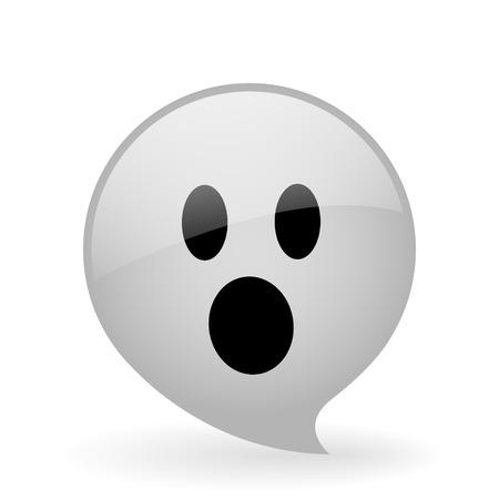 cara sorprendida: Botón de cristal del vector con el símbolo de la cara del fantasma Vectores