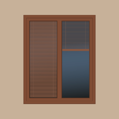 louver: vector closed brown window with the louver