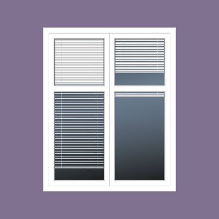 jalousie: vector closed white window with the louver