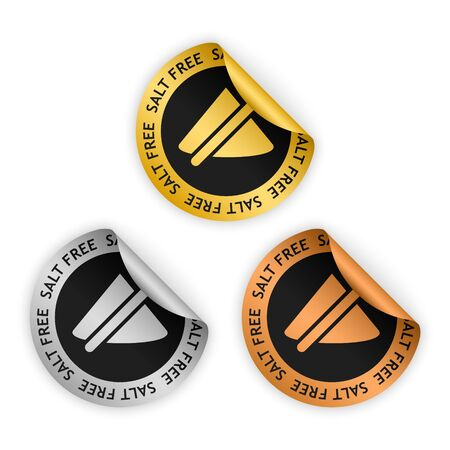 salt free: gold, silver, bronze bent stickers with symbol of salt free