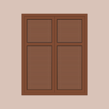 sunblind: closed brown window with the louver