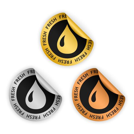 harmless: set of gold silver bronze bent sticker with symbol of fresh product, water drop icon
