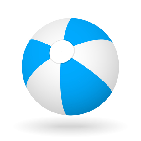 light shadow: blue white beach ball with the light shadow for the beach ball game Illustration