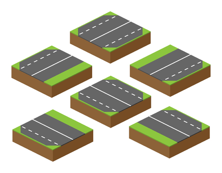 applicable: set of bricks with parts of road applicable to the computer game, building roads and nature, attachable with other parts of road