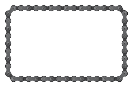 set of connected bicycle chain pieces composite to angular frame