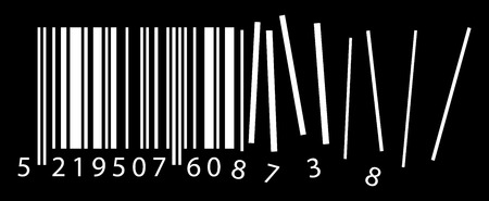 qrcode: vector broken ean code, qr code containing important information on black background Illustration