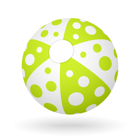 vector white green beach ball with the light shadow Illustration