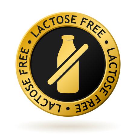 Medaglia d'oro vettoriale con simbolo di lattosio libero