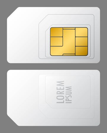 vector white sim card from both sides