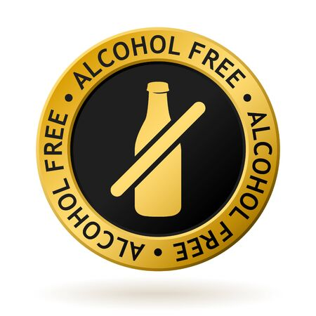 Gold medal with symbol of alcohol free.