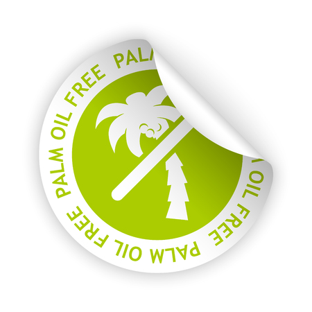vector white bent sticker with symbol of palm oil free