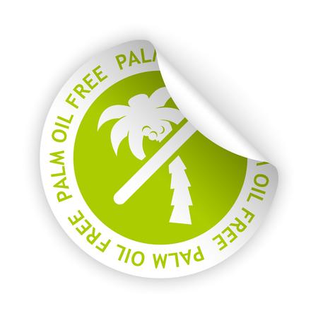 Vektor weiß gebogenen Aufkleber mit Symbol der Palme Öl frei Vektorgrafik