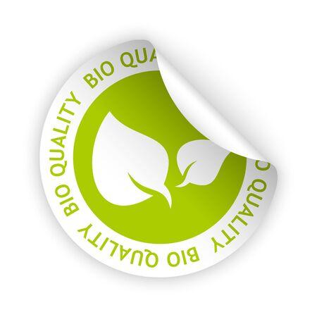 Vector groen gebogen sticker met symbool van biologische kwaliteit Stock Illustratie