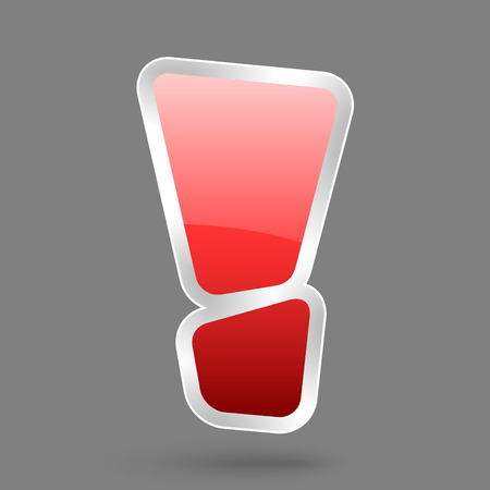 vector red exclamation symbol with glossy effect, symbol of warning Ilustração