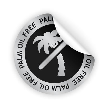 Vector witte gebogen sticker met symbool van palmolie vrij