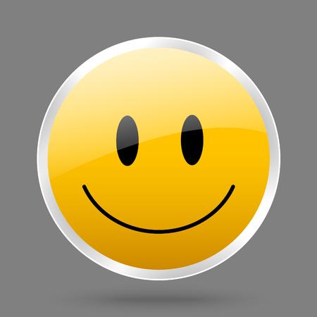 Vector metaal pictogram met geel lachend gezicht