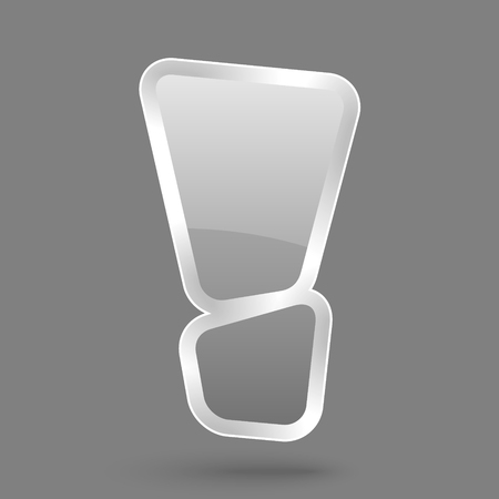vector grey exclamation symbol with glossy effect, symbol of warning