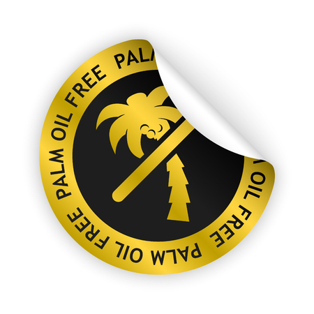 vector gold bent sticker with symbol of palm oil free