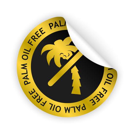 Vector goud gebogen sticker met symbool van palmolie vrij