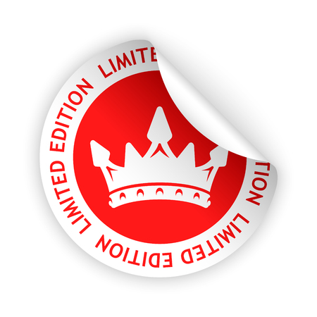 Vector red bent sticker with symbol of limited edition Ilustração