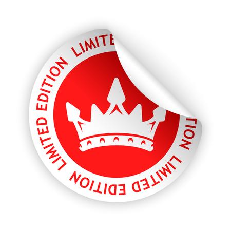 Vector rode gebogen sticker met symbool van beperkte editie Stockfoto - 74474090