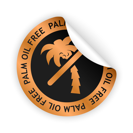 vector bronze bent sticker with symbol of palm oil free