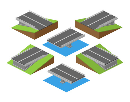 Set of vector bricks with parts of road with bridge